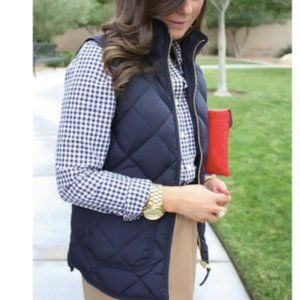 J. Crew Quilted Puffy Puffer Vest Navy Down Medium